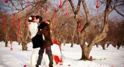 интересная свадебная фотосессия в зимнее время года