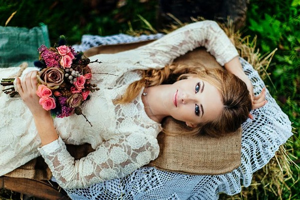 как одеться невесте на свадьбу в стиле рустик