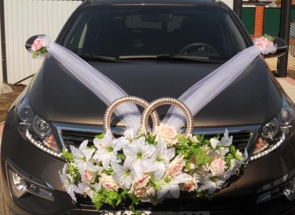 фото свадебной машины с кольцами