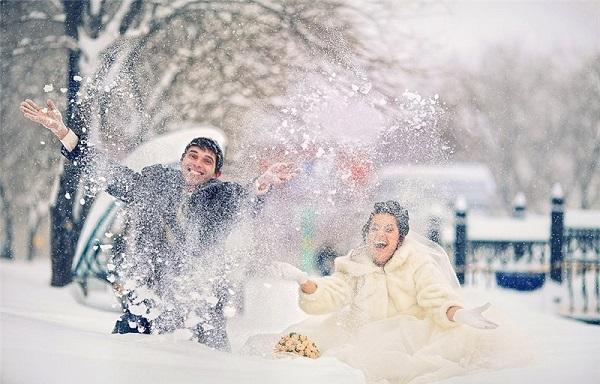 выездная съемка в снегопад