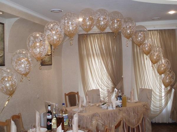 цепочки из шаров на свадьбу